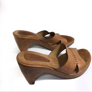 Enzo Angiolini Leather Wedge Sandal Slides 7.5M